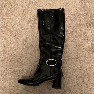Donald Pliner Knee High Black Patent Leather Boots